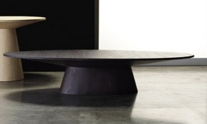 A black oval Brazilian coffee table